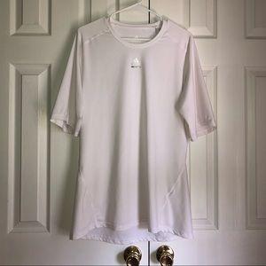 Adidas Men's White Techfit Short Sleeve Shirt